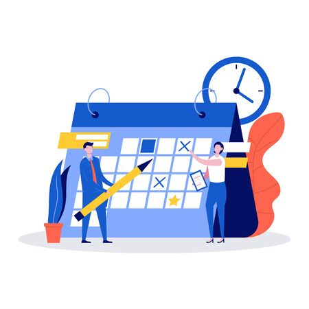 People planning schedule, calendar and time management concept. Young people or workers filling out the schedule on huge calendar planning work in progress. Modern vector illustration in flat style.