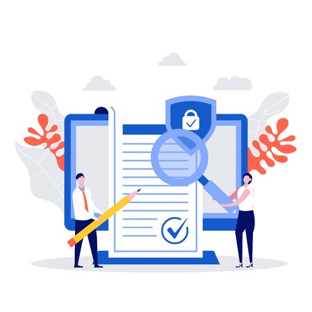Business people signed contract concept. Character with agreement checking, corporate document, data protection, terms and conditions, privacy policy. Modern vector illustration in flat style.