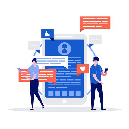 Young man and woman chatting with huge phone, emoji and chat bubble on the background. Dating app and virtual relationship. Modern vector illustration in flat style for landing page, mobile app, web.