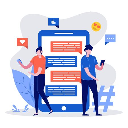 Chat concept illustration. Young people standing with a huge smartphone, social media elements and emoji icons on the background. Friends texting using mobile gadgets with dialogue in flat style.
