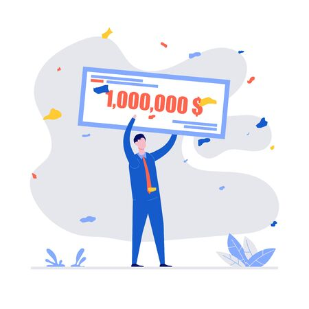 Happy winners holding bank check for millions dollars. Young man in formal suit winning jackpot. Lottery gain, winner announcement, money prize or grant concept. Modern vector illustration in flat style. Stock Illustratie