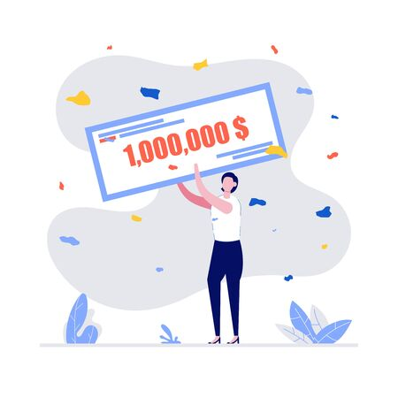 Happy winners holding bank check for millions dollars. Young woman in formal suit winning jackpot. Lottery gain, winner announcement, money prize or grant concept. Modern vector illustration in flat style.
