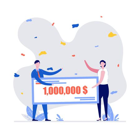 Happy winners holding bank check for millions dollars. Young couple in formal suit winning jackpot. Lottery gain, winner announcement, money prize or grant concept. Modern vector illustration in flat style.