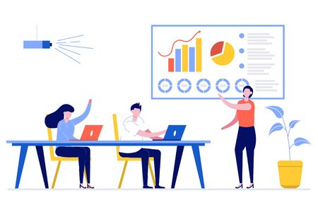 Business woman presenting new project to her partners and colleagues. She is presentation using pie diagram and column charts at conference meeting room. Modern vector illustration in flat style.