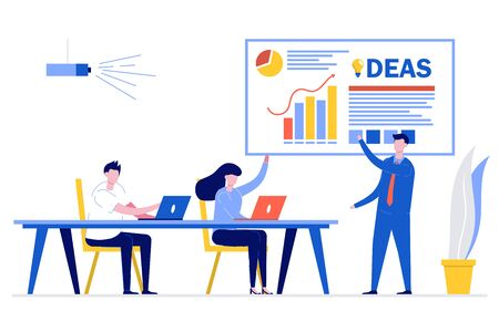 Business man presenting new project to her partners and colleagues. He is presentation using pie diagram and column charts at conference meeting room. Modern vector illustration in flat style. Stock Illustratie