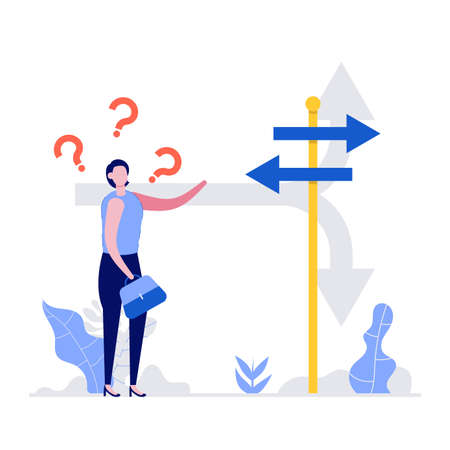 Confused businesswoman standing at a crossroads and looking directional sign arrows. Symbol for choice, career path or opportunities, business concept decision. Modern flat style illustration. Ilustração
