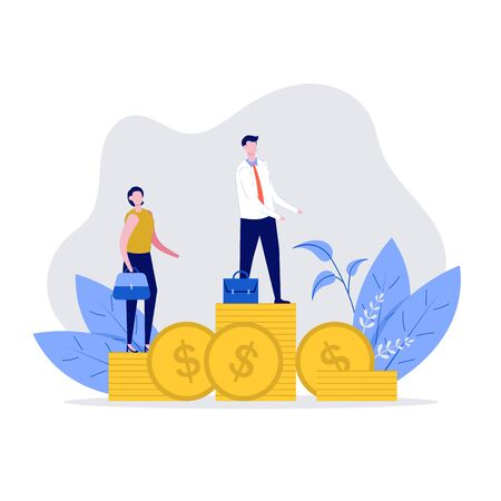 Businessman and businesswoman standing on stacks of coins representing wages level. Concept of Competition, Rivalry Between Colleagues, Office Workers Challenging. Modern illustration in flat style. Illusztráció