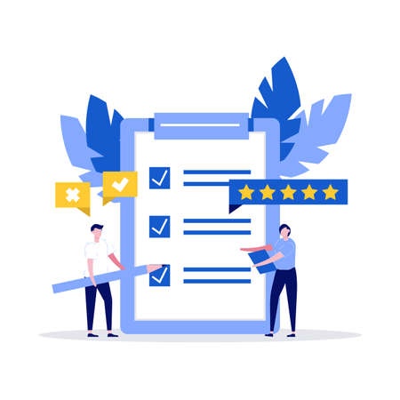 Checklist. People characters and clipboard with checklist and check marks. Business plan, survey, marketing strategy, complete tasks, teamwork success concepts. Modern illustration in flat style. Ilustração
