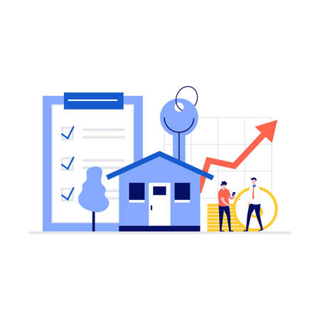 Mortgage concept. House loan or money investment to real estate. Man buying home and shaking hands with real estate agent. Modern illustration in flat style for web banner, infographics, hero images.