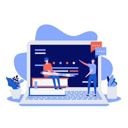 Online training vector illustration concept with characters. Modern vector illustration in flat style for landing page, mobile app, poster, flyer, template, web banner, infographics, hero images.