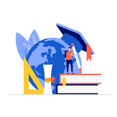 Education vector illustration concept with characters. Modern vector illustration in flat style for landing page, mobile app, poster, flyer, template, web banner, infographics, hero images. Vecteurs