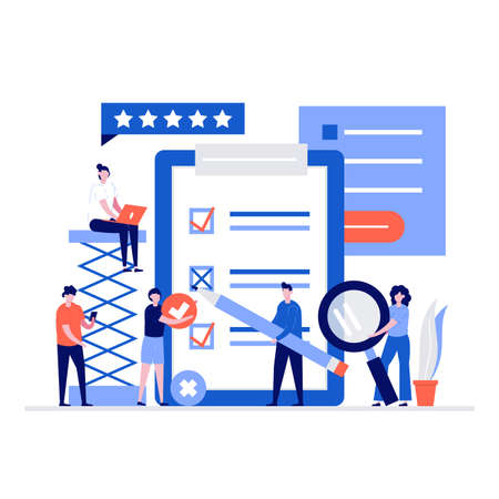 People fill out a questionnaire form. Modern vector illustration in flat style for landing page, mobile app, poster, flyer, template, web banner, infographics, hero images.