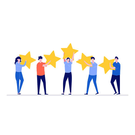 Feedback or rating vector illustration concept with characters. Happy people holding five stars over their heads. Modern flat style for landing page, template, web banner, infographics, hero images.