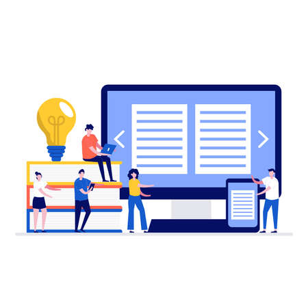 Media book library vector illustration concept with characters. Modern flat style for landing page, mobile app, poster, flyer, template, web banner, infographics, hero images. Vecteurs