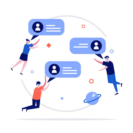 Virtual reality communication vector illustration concept with characters. Modern flat style for landing page, mobile app, poster, flyer, template, web banner, infographics, hero images. 矢量图像