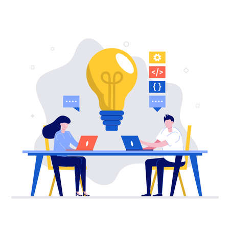 Devops, development operations at work vector illustration concept with characters. Modern flat style for landing page, mobile app, poster, flyer, web banner, infographics, hero images.