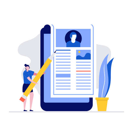 Blogging vector illustration concept with characters. Modern flat style for landing page, mobile app, poster, flyer, template, web banner, infographics, hero images. Stock Illustratie