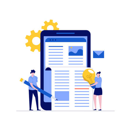 Blogging, copywriting and content management vector illustration concept with characters. People creating and marketing content. Modern flat style for web banner, infographics, hero images.