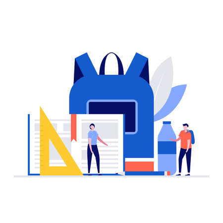 Back to school concept with characters. Modern vector illustration in flat style for landing page, mobile app, poster, flyer, template, web banner, infographics, hero images.