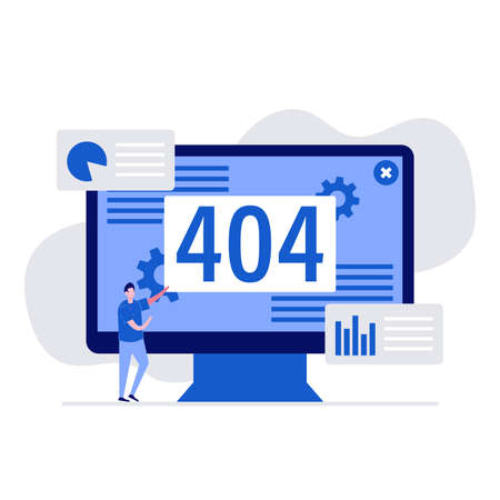 404 error on display concept with characters. Modern vector illustration in flat style for landing page, mobile app, poster, flyer, template, web banner, infographics, hero images.