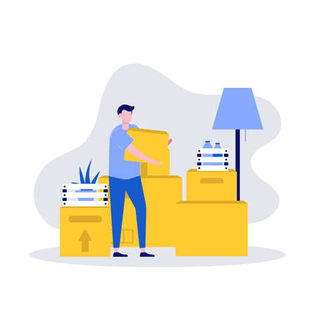 House moving and relocation services vector illustration concept with character and carton boxes stack. Modern vector illustration in flat style for landing page, mobile app, web banner, hero images.