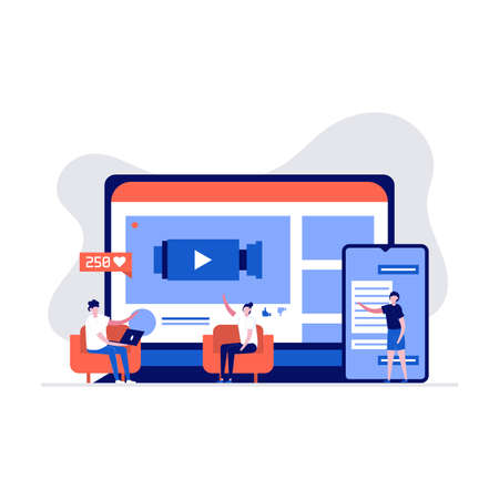 Live steaming, mobile phone and live video stream concept. People character streaming via smartphone. Modern vector illustration in flat style for landing page, mobile app, web banner, hero images. 向量圖像