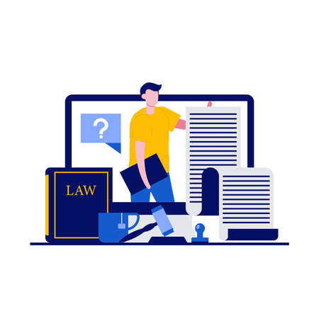 Online legal advice, law and justice concept with characters. Digital service for law consultation. Modern vector illustration in flat style for landing page, mobile app, web banner, hero images.