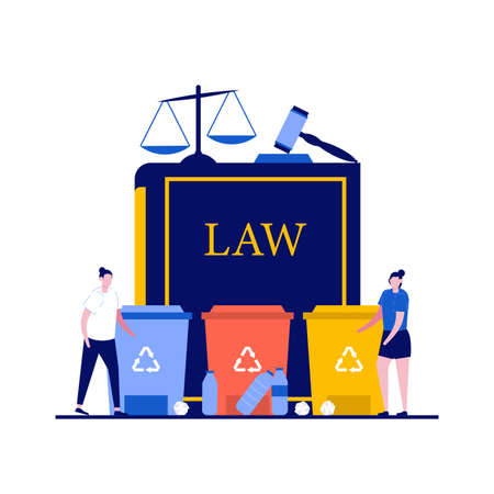 Recycling laws concept with character. Law book with trash cans and house hold waste, judge gavel, scales of justice. Modern flat style for landing page, mobile app, web banner, hero images.