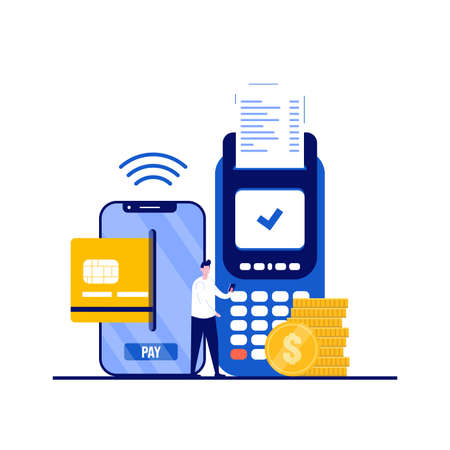 Mobile payment concept with character. Contactless payment, NFC or near field communication mainstream wireless technology. Modern flat style for landing page, mobile app, infographics, hero images.