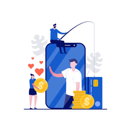 Dating scam, online dating fraud, cybercrime concepts with character. People communicates on the phone with a scammer. Modern flat style for landing page, mobile app, web banner, hero images.