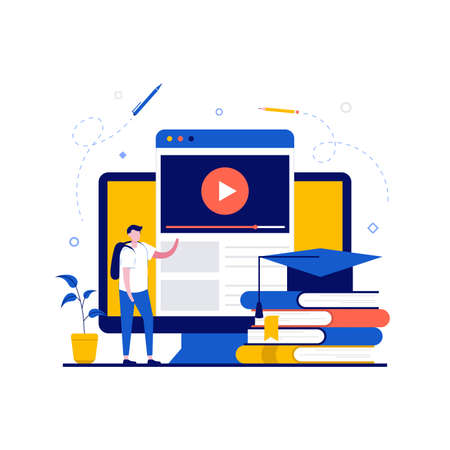 Distance tutorial, online education concepts with student character. Student studying online course for university. Modern flat style for landing page, mobile app, infographics, hero images.