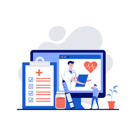 Online diagnosis concept with character. Online doctor medical consultation and support. Modern flat style for landing page, mobile app, poster, flyer, web banner, infographics, hero images. 스톡 콘텐츠 - 158310406