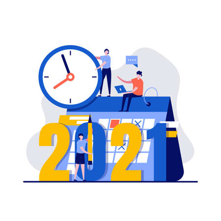 2021 plan concept with character, clock, calendar. Work project, time management, scheduling, opportunities of year, work to reach success. Modern flat style for landing page, hero images. Ilustração