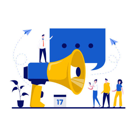 PR, public relations management and advertisement concept with character. Marketer promotioning campaign with big loudspeaker. Business marketing department. Modern flat illustration for landing page. 矢量图像
