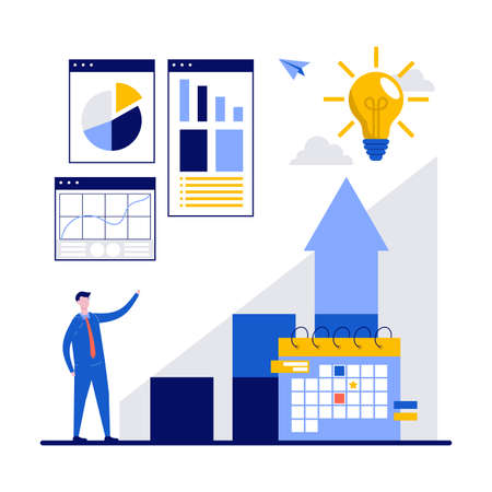 Business development concept with character. Profit increasing strategies to success. Diagram, chart and dynamics, economic and finance. Modern flat illustration for landing page, hero image.
