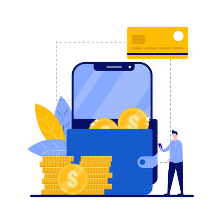 Smart wallet concept with character. Cryptocurrency withdraw, e-payment. Credit card, digital and mobile wallet. Financial and banking service. Modern flat illustration for landing page, hero images.