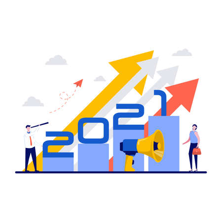 Business team leader vision ahead strategy for 2021 new year. Concept of achievement, success and developing business in successful way. Businessman looking forward with the telescope.