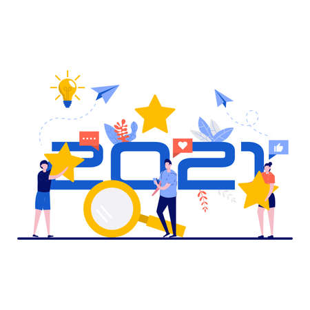 Customer evaluation of product, ranking or review concept with big 2021 number. Tiny people giving rate with star. Modern flat illustration for landing page, web banner, infographics, hero images.