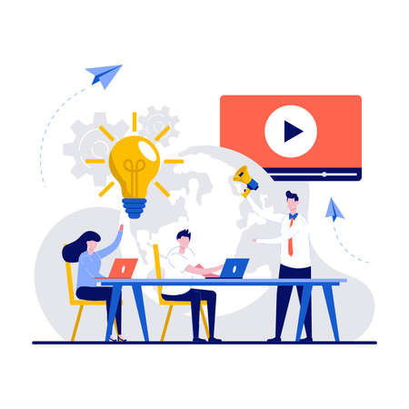 Marketing team metrics, marketing team lead and responsibilities concept with tiny character. Digital marketing team with laptops and light bulb. Customer attraction, social media promotion.