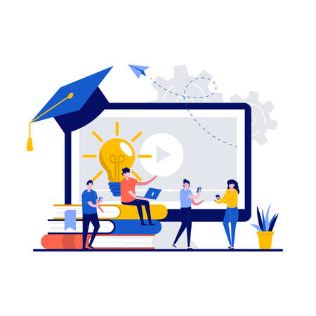Online education service concept with tiny character. People study, holding mobile devices for training flat vector illustration. Video lesson, home schooling, research of material, exam metaphor.