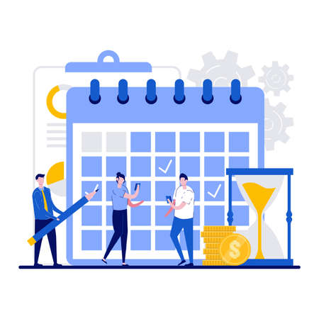 Business planning, schedule, work control concept with tiny character. People with a phone checks the list of plans and pencil makes notes flat vector illustration. Management, organization metaphor.
