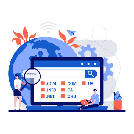 Domain registration web page concept with tiny character. People choose, find, purchase, register website domain name flat vector illustration. Can use for mobile app, landing page idea.