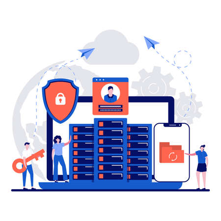 Hybrid cloud concept with tiny character. Private and public cloud flat vector illustration. Infrastructure, personal data protection, GDPR, modern operating systems metaphor.Can use for landing page.