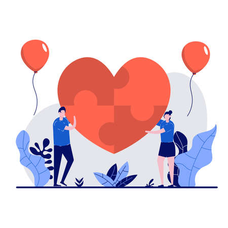 Valentine's day concept with tiny character. Loving couple create heart-shaped puzzles together flat vector illustration. Can use for poster, card, background, wallpaper, web banner or landing page.