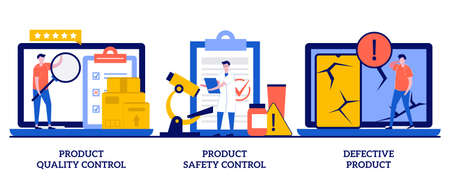 Product quality, safety control, defective product concept with tiny people. Product manufacturing abstract vector illustration set. Customer feedback, inspection, warranty certificate metaphor.