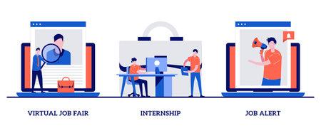 Virtual job fair, internship, job alert with tiny people. Job proposal abstract vector illustration set. Online hiring, human resources service, professional growth, career building metaphor.