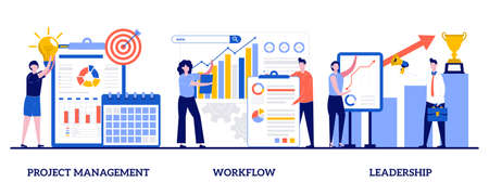 Project management, workflow, leadership concept with tiny people. Business management abstract vector illustration set. Waterfall, agile, development team, productivity software, coaching metaphor.