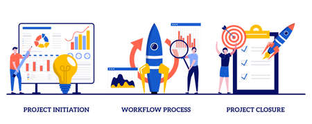 Project initiation and closure, workflow process concept with tiny people. Project implementation abstract vector illustration set. Business analysis, vision and scope, management software metaphor.