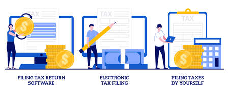 Filing tax return software, electronic tax filing, filing taxes by yourself concept with tiny people. Financial statement vector illustration set. Income reporting, revenue declaration metaphor. Vettoriali