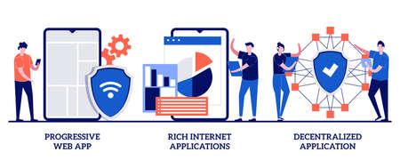 Progressive web app, rich Internet and decentralized applications concept with tiny people. Mobile app development vector illustration set. Open source platform, user interaction design metaphor.